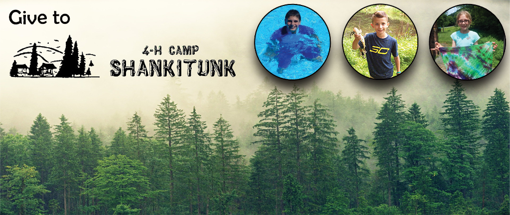 Give to 4-H Camp Shankitunk text over forest image with three youth engaged in fishing, swimming, and crafting