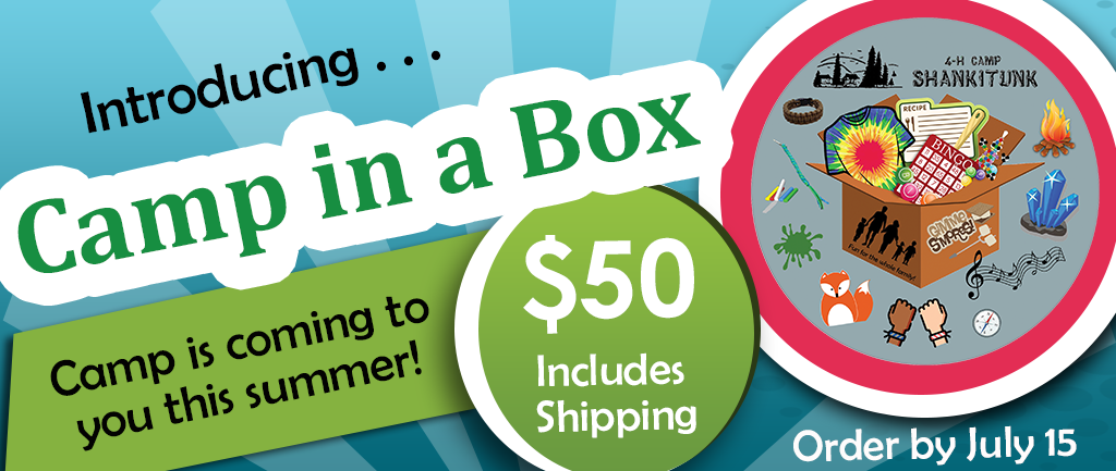 Introducing Camp in a box. Camp is coming to you this summer. $50 includes shipping. Order by July 15.
