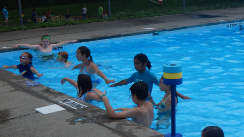 campers in swimming pool with arms raised straight out looking at a counselor who is out of view of camera.